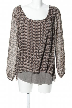 Best Connections Langarm-Bluse braun-creme Allover-Druck Casual-Look