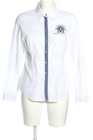 Best Connections Camicia a maniche lunghe bianco caratteri ricamati stile casual