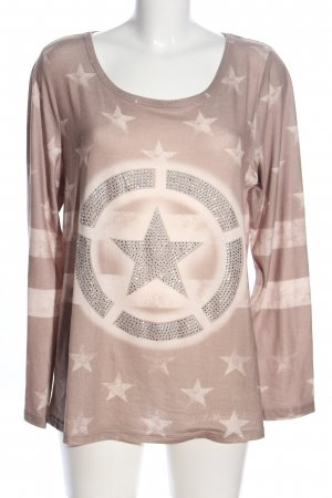 Best Connections Longsleeve braun-creme Allover-Druck Casual-Look