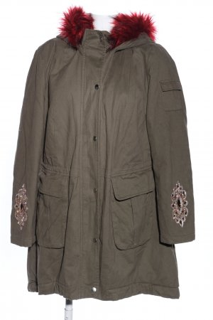 Best Connections Parka khaki-silberfarben grafisches Muster Casual-Look