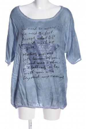 Best Connections Schlupf-Bluse blau-schwarz Motivdruck Casual-Look