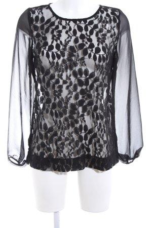 Best Connections Transparenz-Bluse schwarz Blumenmuster Elegant
