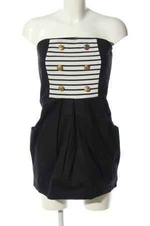 Best emilie Vestido bandeau negro-blanco tejido mezclado