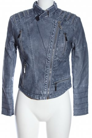Best emilie Veste en cuir synthétique bleu style décontracté