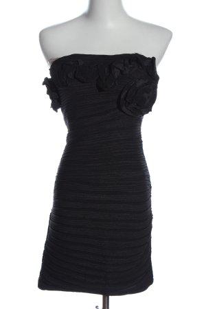 Best emilie Robe épaules nues noir motif rayé élégant