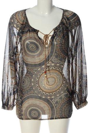 Best emilie Transparentna bluzka czarny-brązowy Abstrakcyjny wzór Elegancki