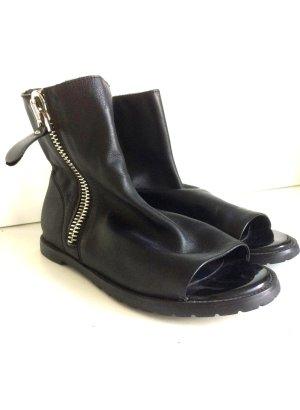 Spartiate noir cuir