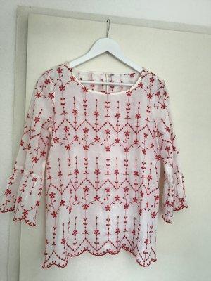 Tom Tailor Tunique-blouse blanc-rouge brique coton