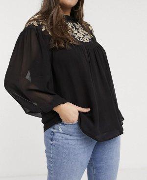 Bestickte Bluse in Schwarz