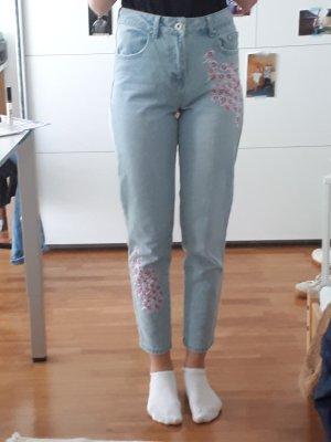 Primark Pantalone boyfriend rosso lampone-azzurro