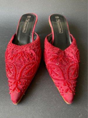 Strauss Innovation Heel Pantolettes dark red satin
