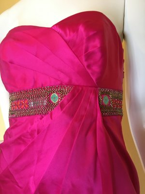 Monsoon Bustier Dress petrol-magenta silk