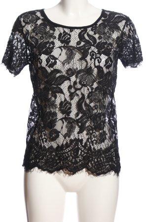 Beth Jordan Lace Top black weave pattern business style