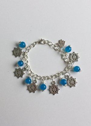no name Charm Bracelet silver-colored-neon blue mixture fibre
