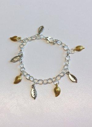no name Bransoletka charm srebrny-złoto Tkanina z mieszanych włókien
