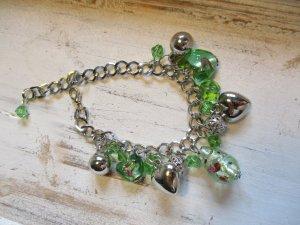 Bracciale charm argento-verde Vetro