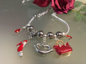 Handarbeit Charm Bracelet silver-colored-neon red