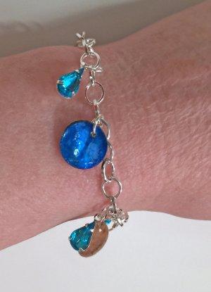 no name Bracciale charm argento-blu neon Tessuto misto