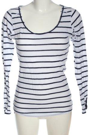 Better Rich T-shirt rayé blanc-bleu imprimé allover style décontracté