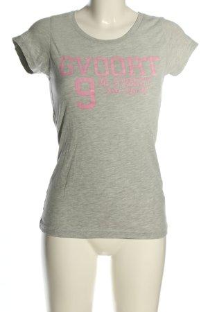 Better Rich T-Shirt hellgrau-pink Schriftzug gedruckt Casual-Look