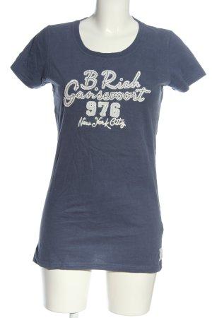 Better Rich T-Shirt blau Schriftzug gedruckt Casual-Look