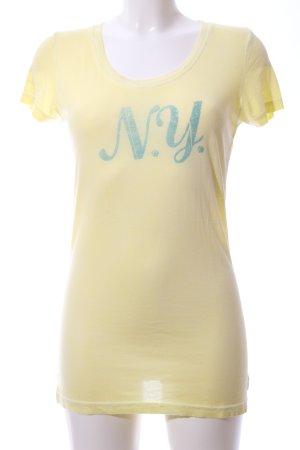 Better Rich T-Shirt blassgelb-türkis Schriftzug gedruckt Casual-Look