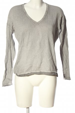 Better Rich V-Neck Sweater light grey flecked casual look