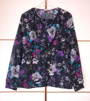 Betty Barclay Bluse Tunika Vollant schwarz floral 38 Neu