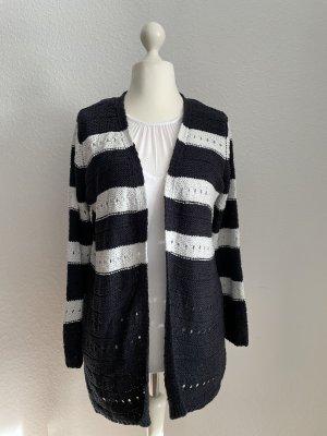 Betty Barclay Veste tricotée en grosses mailles blanc-bleu foncé nylon