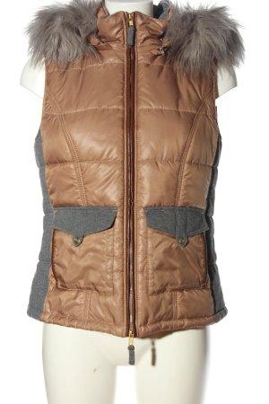 Betty Barclay Capuchon vest bruin-lichtgrijs gestippeld casual uitstraling