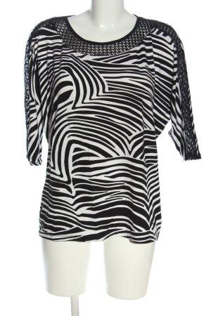 Betty Barclay Kurzarm-Bluse schwarz-weiß Streifenmuster Casual-Look