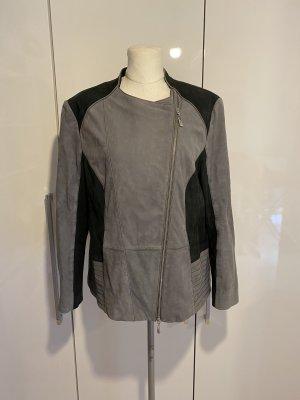 Betty Barclay Lederjacke Gr.46 schwarz grau Jacke Bikerjacke