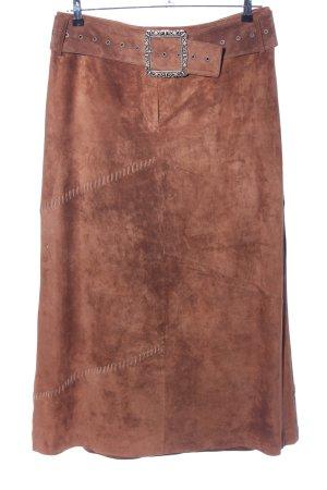 Betty Barclay Falda de cuero marrón look casual