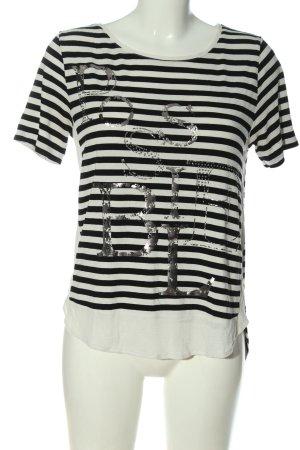 Betty Barclay Koszulka w paski czarny-biały Wydrukowane logo W stylu casual