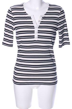 Betty Barclay Camisa acanalada blanco-negro estampado a rayas look casual