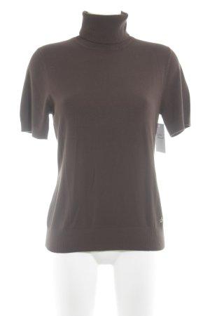 Betty Barclay Camisa de cuello de tortuga marrón oscuro estilo sencillo