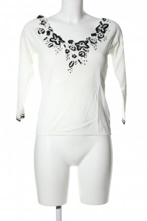 Betty Barclay Blusa caída blanco-negro estampado floral elegante