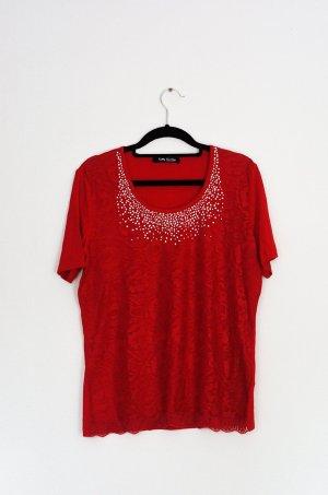 Betty Barclay Shirt Spitze Rot Strass NEU Floral Rundhals Romantisch