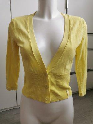 Betty Barclay Strickjacke mit drei Knöpfen V-Ausschnitt gelb Gr S