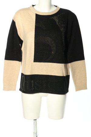 Betty Barclay Strickpullover creme-schwarz Schriftzug gedruckt Casual-Look