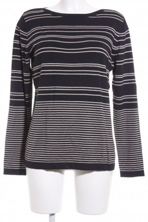 Betty Barclay Strickpullover dunkelblau-hellbraun Streifenmuster Casual-Look