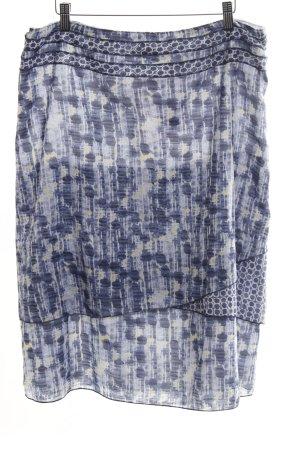 Betty Barclay Stufenrock blau-blassgelb abstraktes Muster Transparenz-Optik