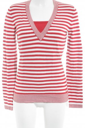 Betty Barclay V-Ausschnitt-Pullover weiß-rot Streifenmuster klassischer Stil