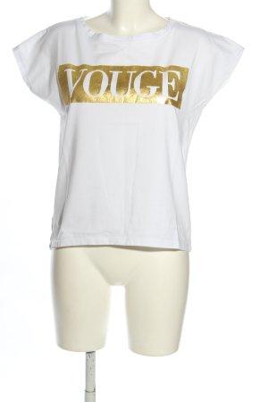 Betty Blue Camicia oversize bianco-oro caratteri stampati stile casual