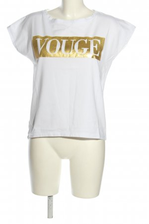 Betty Blue Oversized shirt wit-goud gedrukte letters casual uitstraling