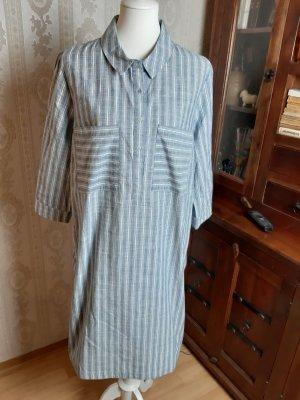 Betty & Co Robe chemise blanc-bleu azur coton