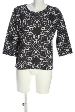 Betty & Co Bluzka z długim rękawem biały-czarny Na całej powierzchni