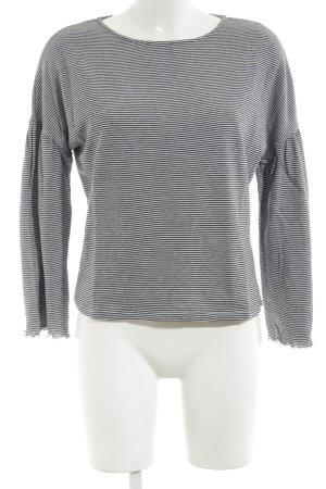Betty & Co Crewneck Sweater black-white striped pattern simple style