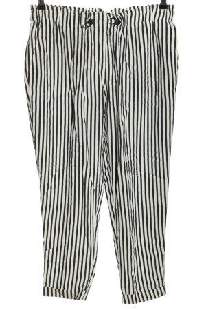 Betty & Co Pantalone jersey bianco-nero motivo a righe stile casual