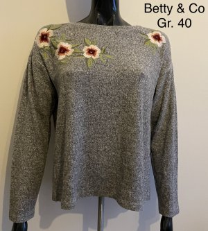 Betty & Co Kraagloze sweater grijs
